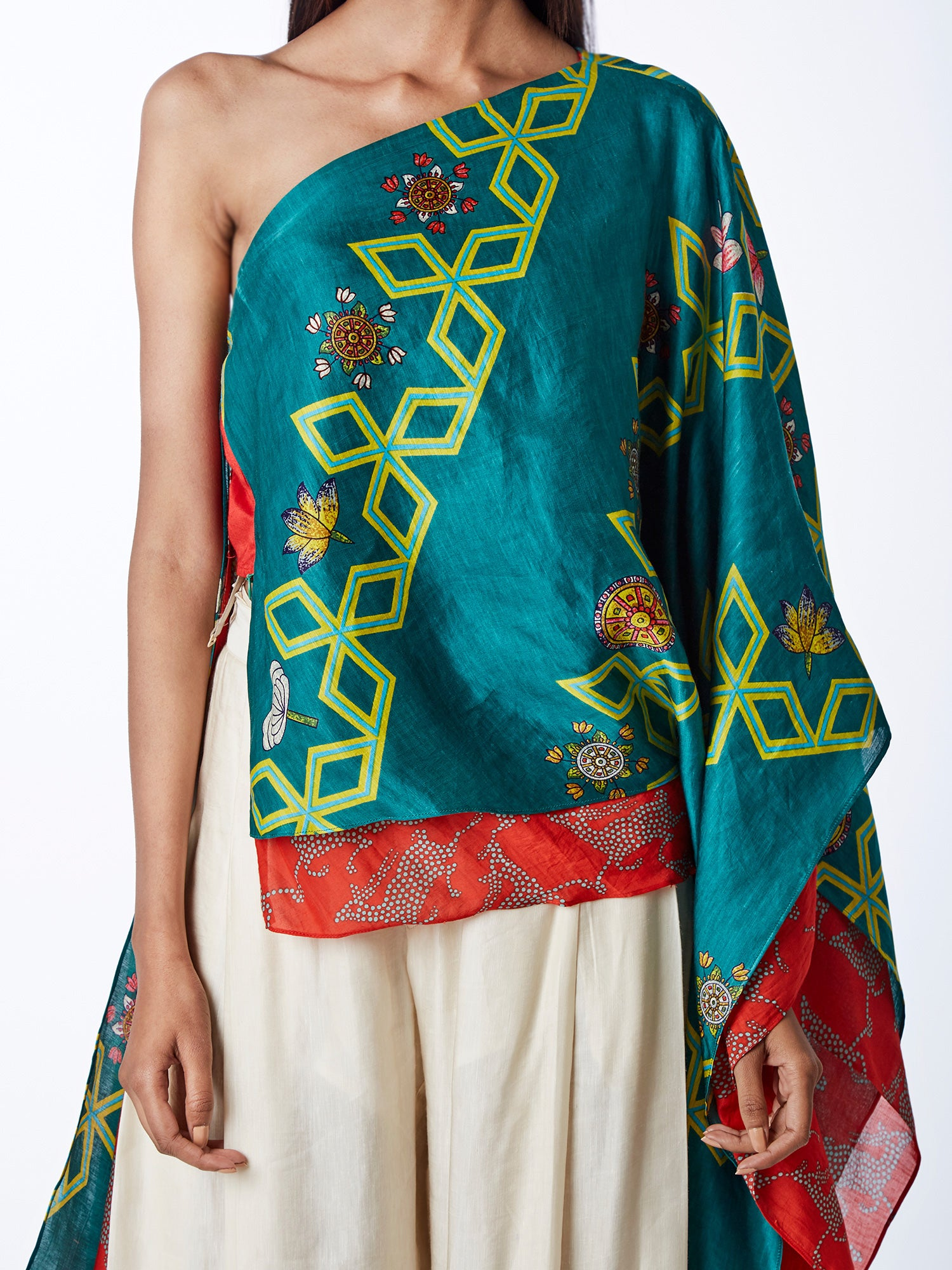 Bundi Teal Diagonal Print Cape