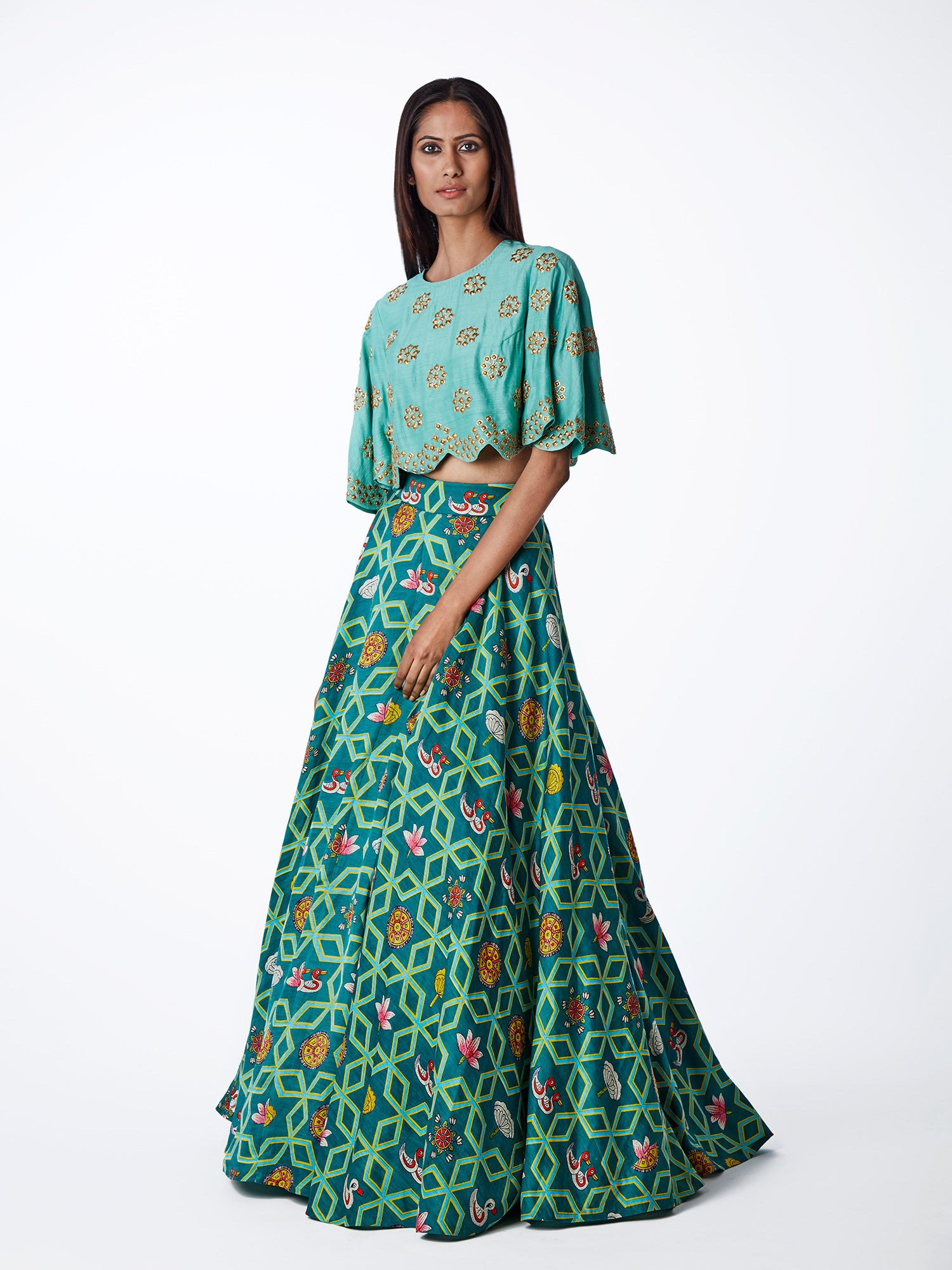 teal, embroidered, printed, silk, satin, lehenga, bridal, indianwedding, lehenga choli, blouse, swati vijaivargie
