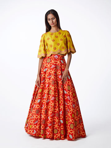 yellow, red, embroidered, printed, silk, satin, lehenga, bridal, indianwedding, lehenga choli, blouse, swati vijaivargie