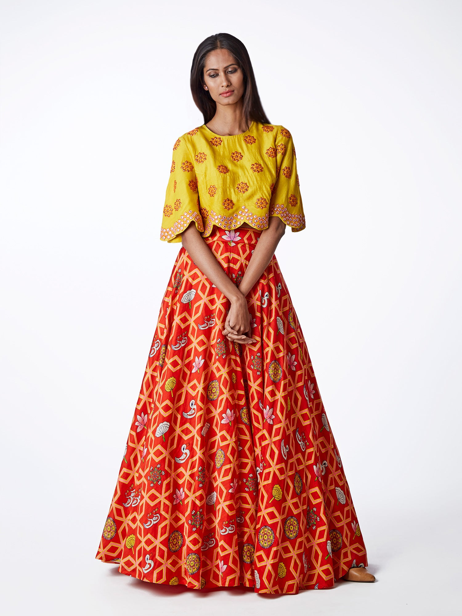 red, yellow, embroidered, printed, silk, satin, lehenga, bridal, indianwedding, lehenga choli, blouse, swati vijaivargie