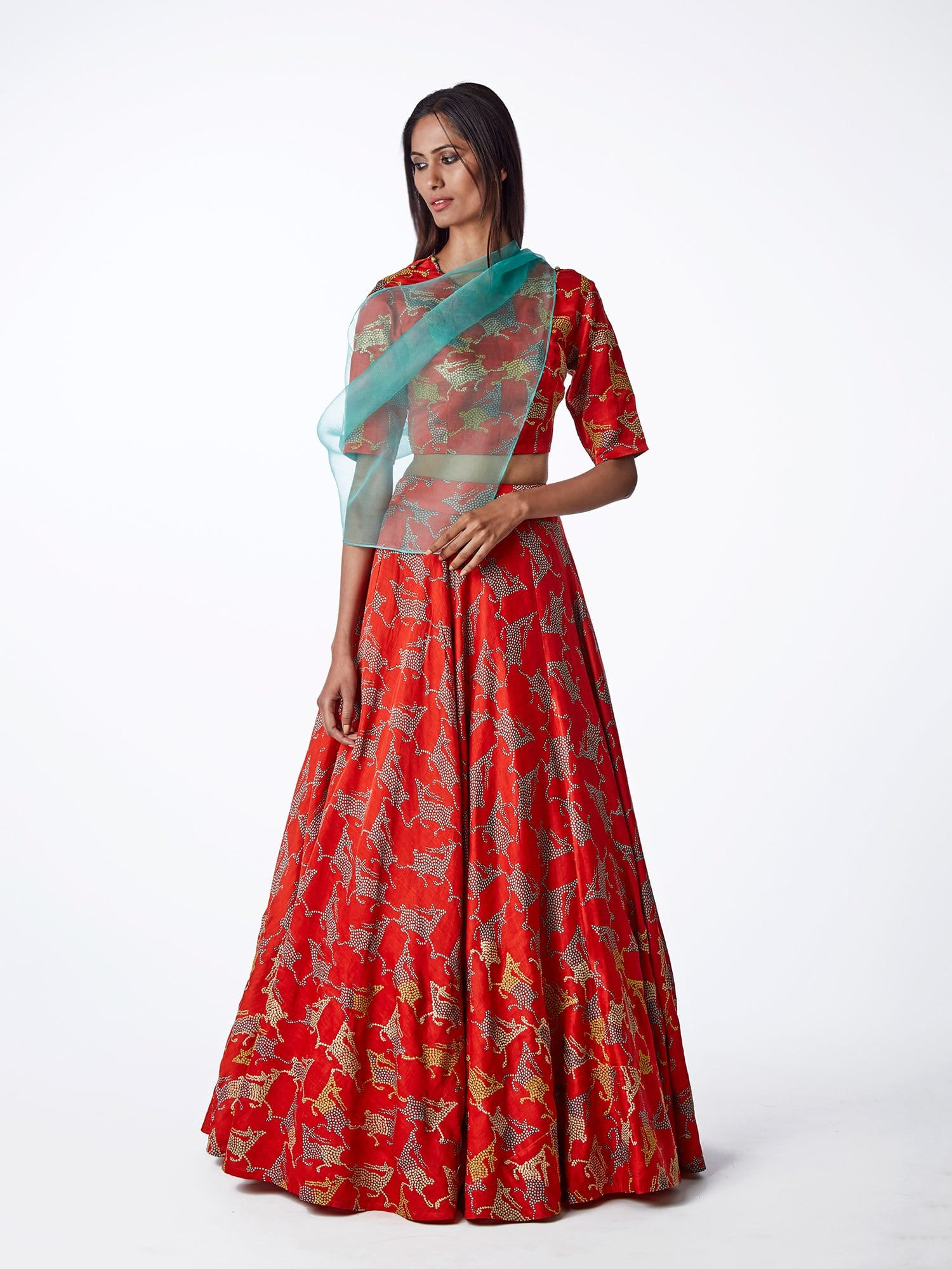 red, embroidered, printed, silk, satin, lehenga, bridal, indianwedding, lehenga choli, blouse, swati vijaivargie