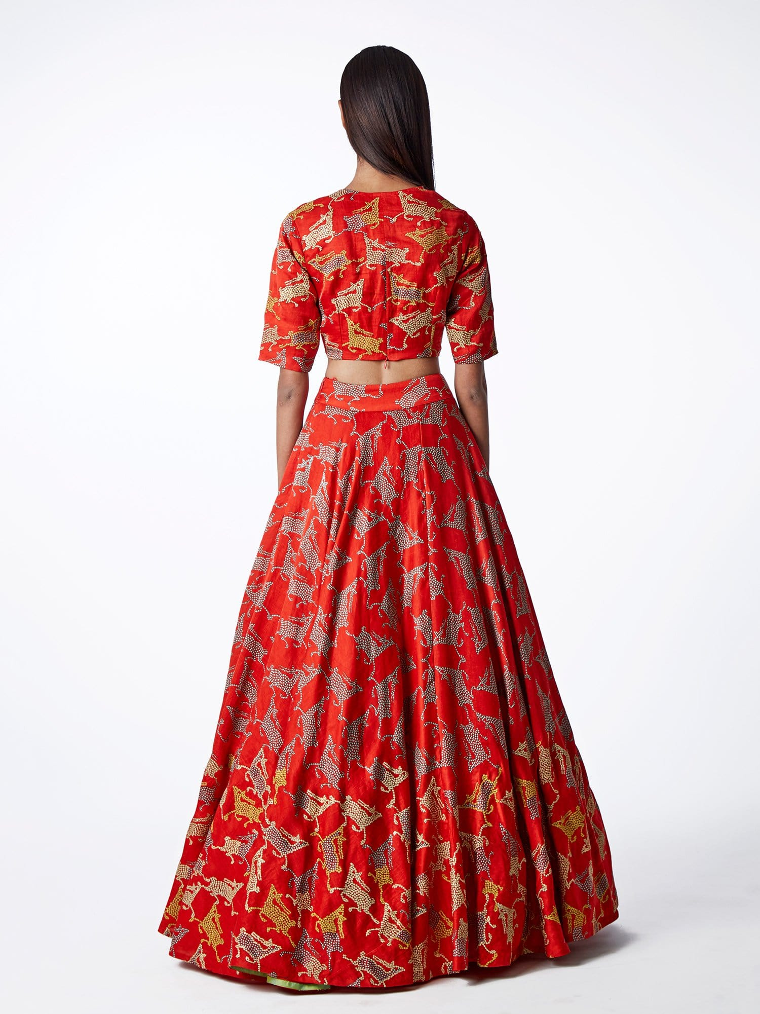 Bundi Scarlet Embroidered Lehenga Set