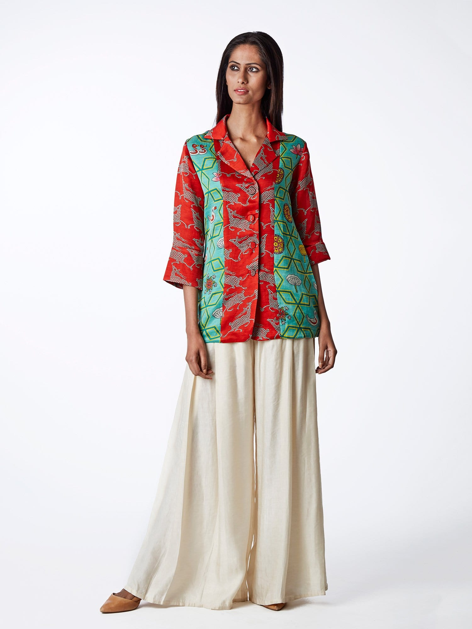 jacket, EMBROIDERED, PRINTS, PRINTED, RED, PRINTED, PALAZZO, SWATI VIJAIVARGIE