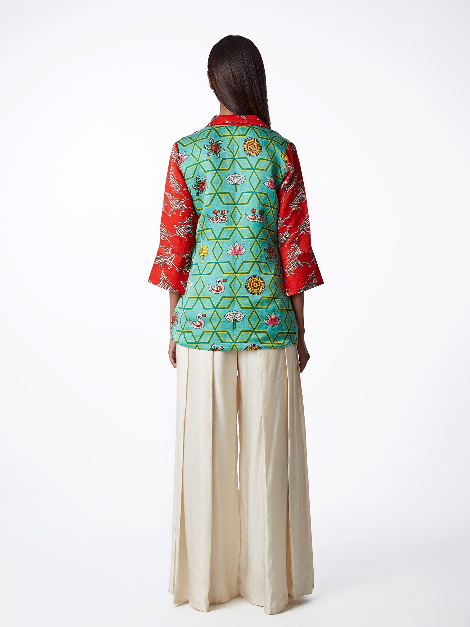 Bundi Print Scarlet Short Jacket With Palazzo Pants
