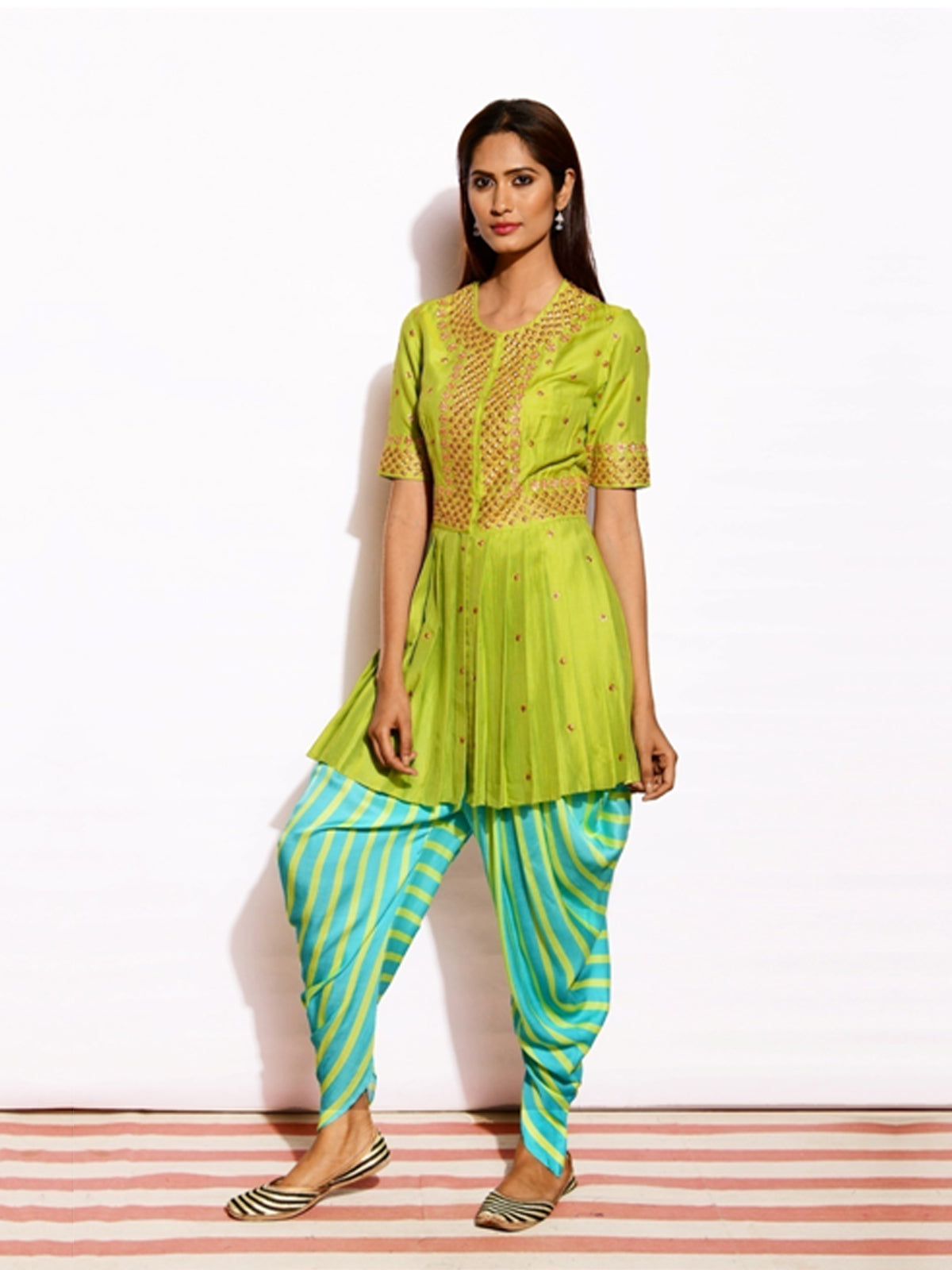 LIME GREEN TOP WITH DHOTI PANTS