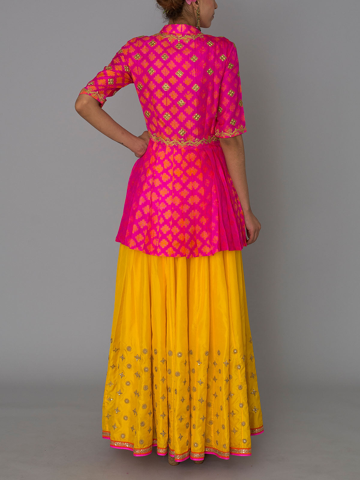 HOT PINK MARODI PEPLUM WITH YELLOW EMBROIDED LEHENGA