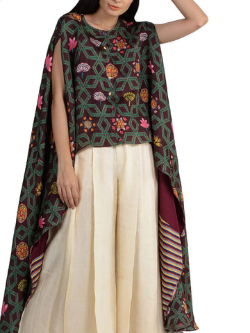 BUNDI PRINTED LAYERED CAPE WITH PANTS