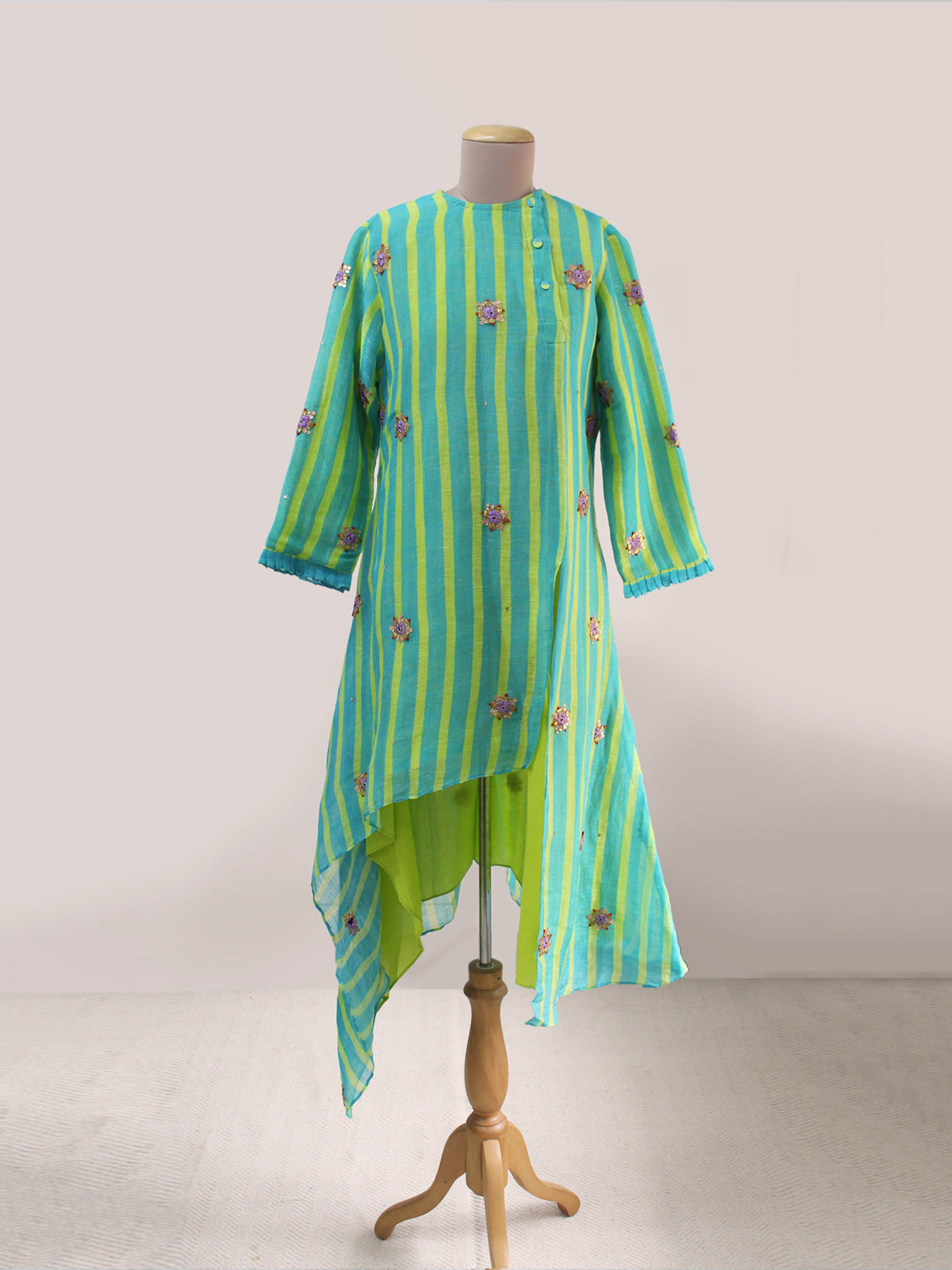 TURQUOISE / LIME GREEN STRIPED ASYMMETRICAL TUNIC