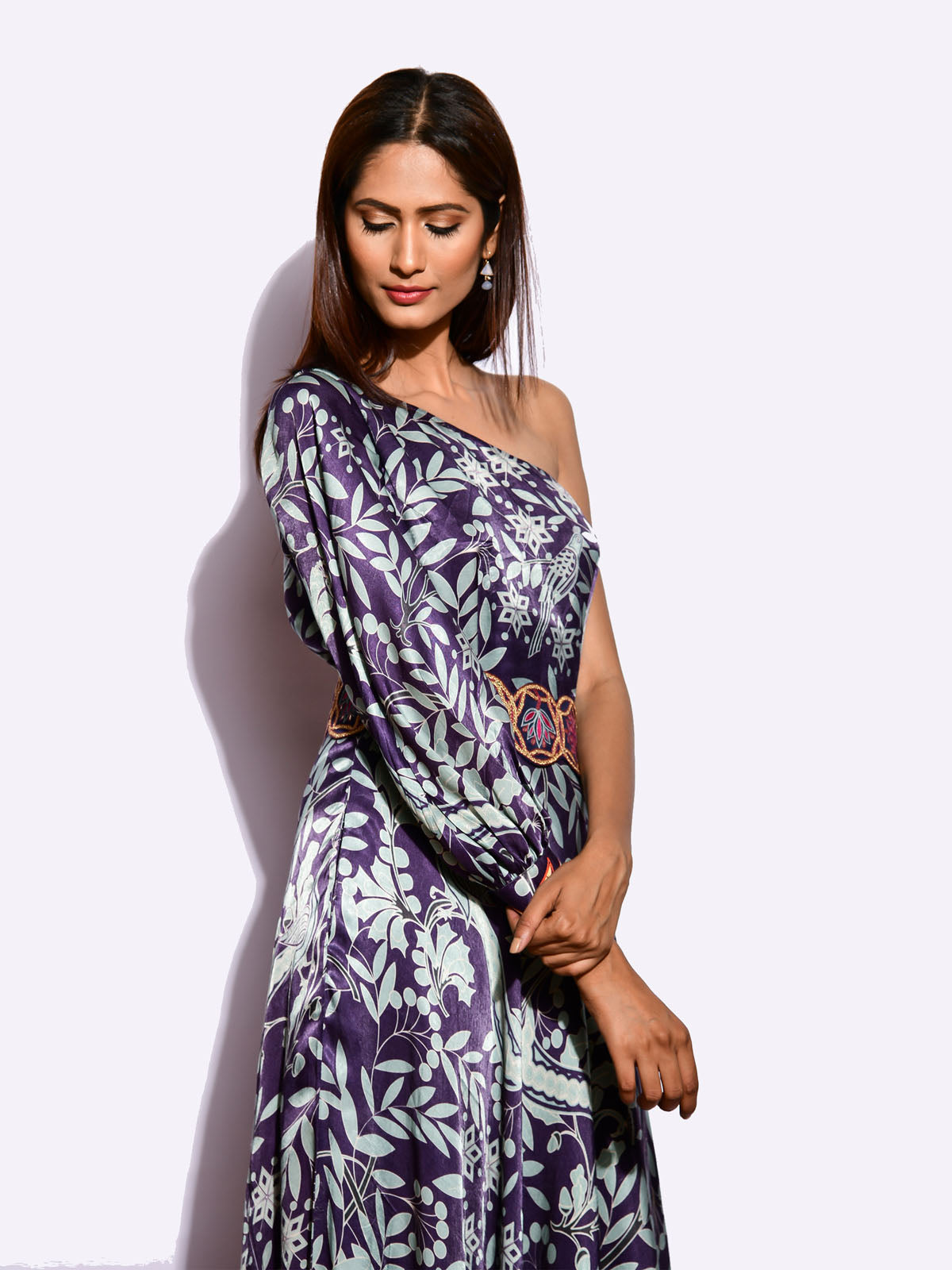 MORBAGH  PRINTED one SHOULDER DRESS with embroidered belt