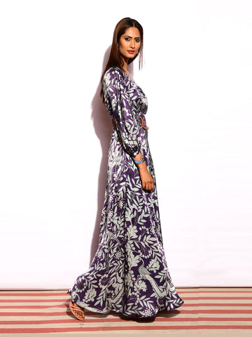 MORBAGH  PRINTED ASYMMETRICAL SHOULDER DRESS with embroided belt