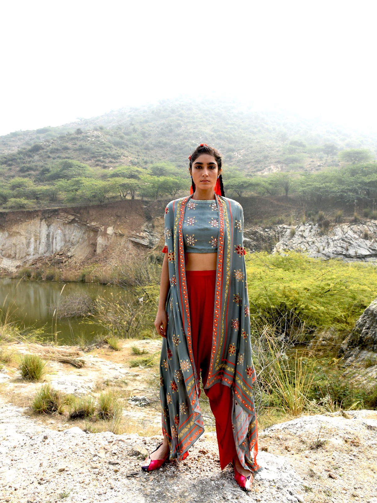 MORBAGH PRINTED EMBROIDERED CAPE, CROP TOP AND PANTS