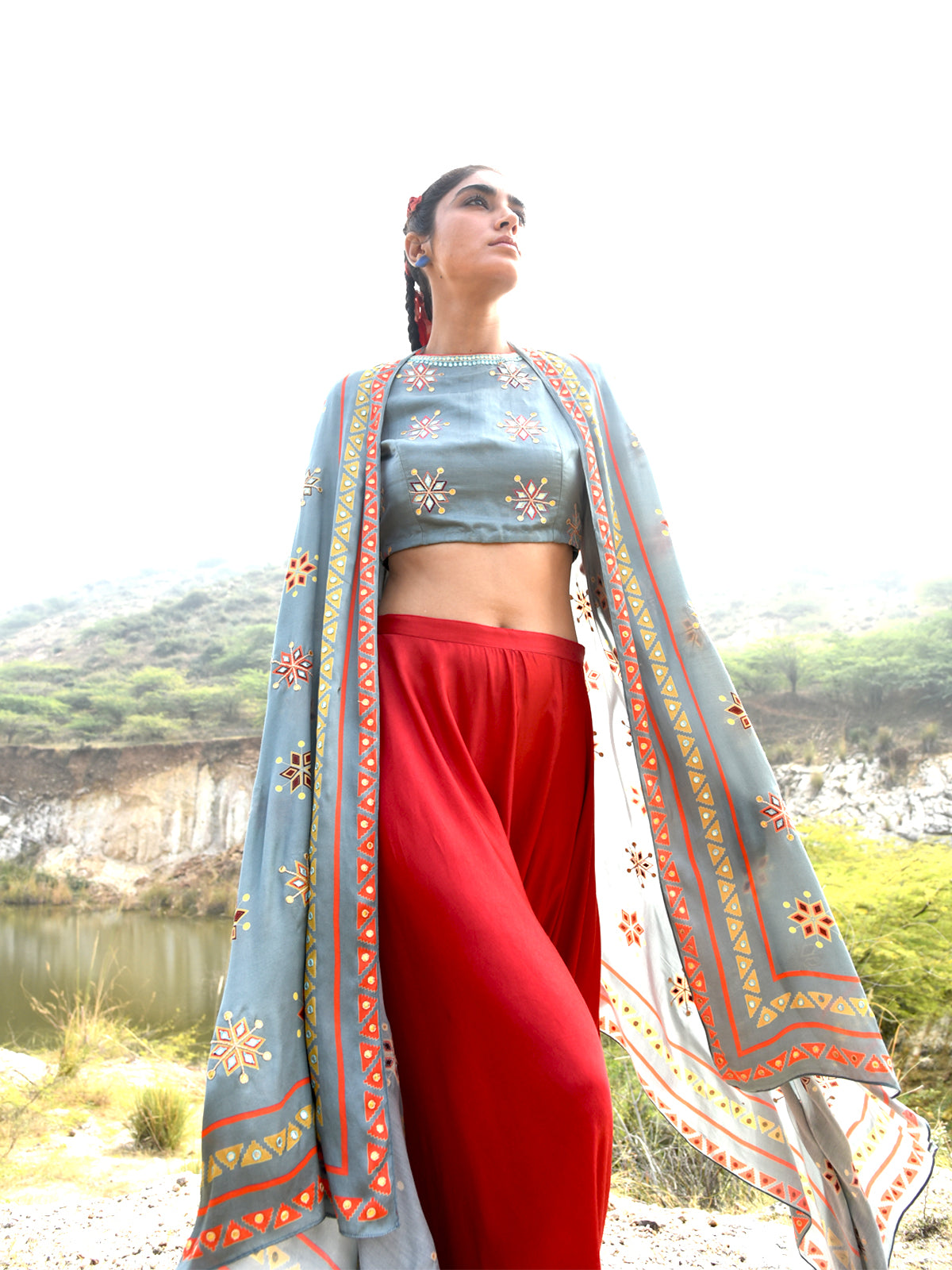 MORBAGH PRINTED EMBRODIED CAPE, CROP TOP AND PANTS