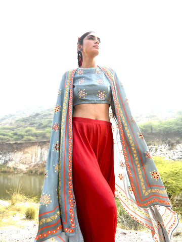 Morbagh Teal Sunheri embroided saree with embroided blouse