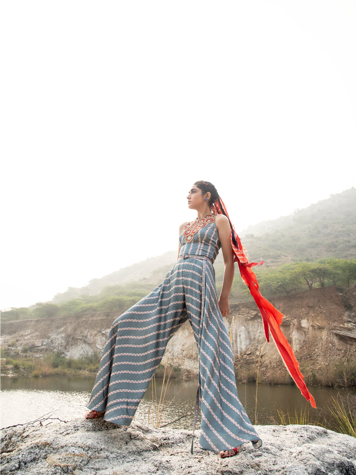 MORBAGH STRIPED GReY EMBROIDED AND PRINTED JUMPSUIT