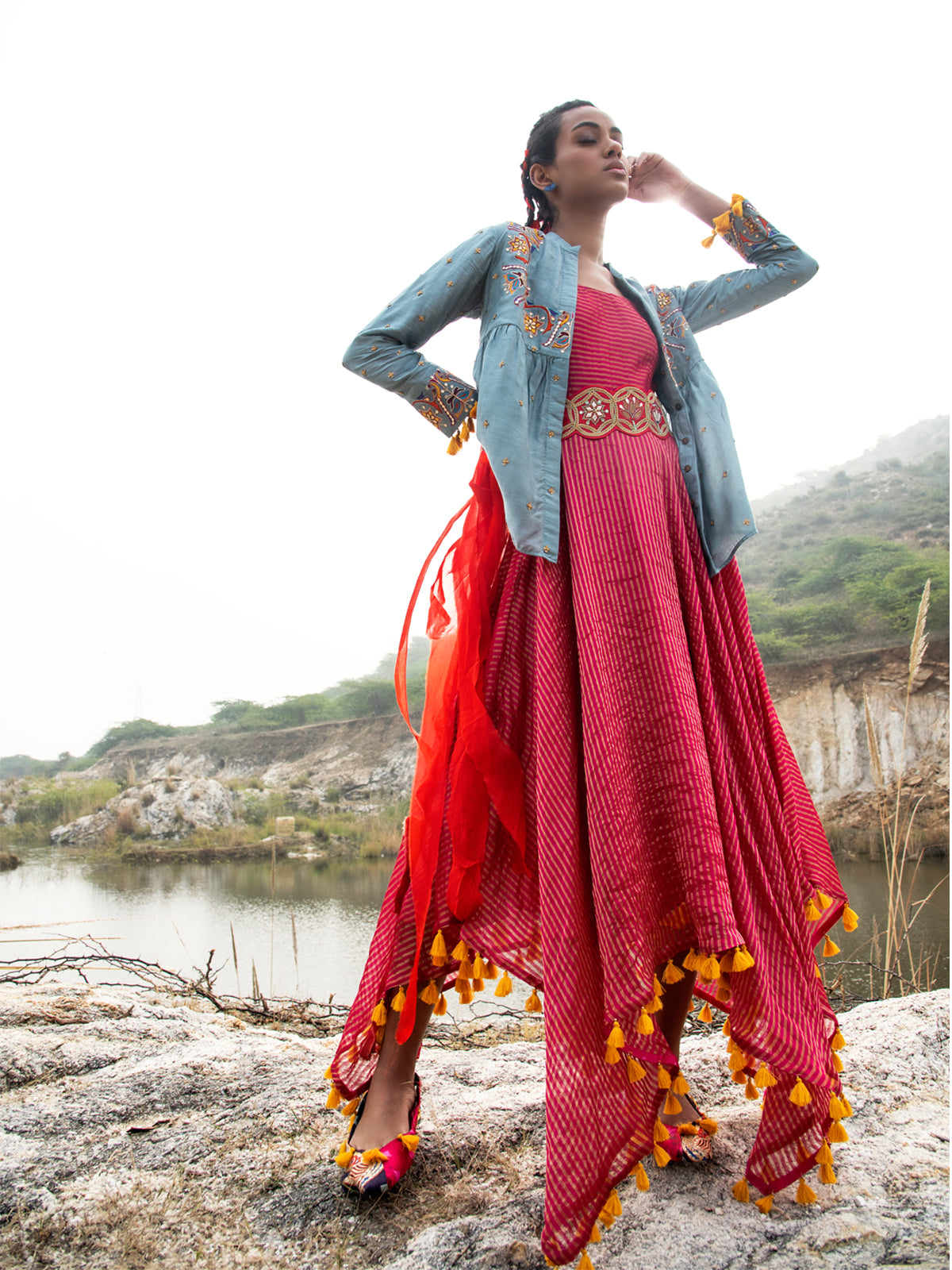 MORBAGH EMBROIDED JACKET WITH ASYMMETRICAL SUNHERI CHANDERI  DRESS