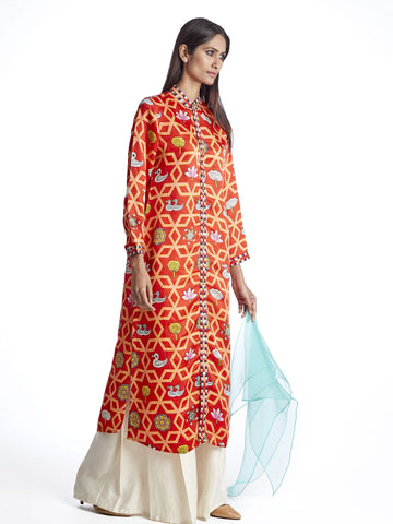 Kurta, tunic set, Bundi, Swati Vijaivargie, printed, Indian apparel, indiandesigner