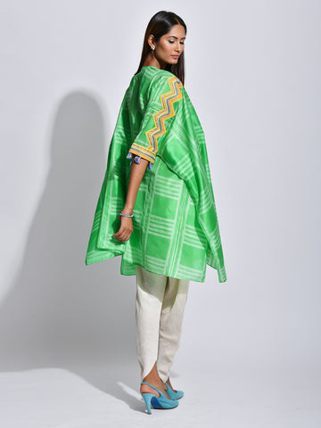 kaftan, tunic, resortwear, shibori silk, silk, indian wear, indianfashion, kurtas, kaftan, embroidered kaftan
