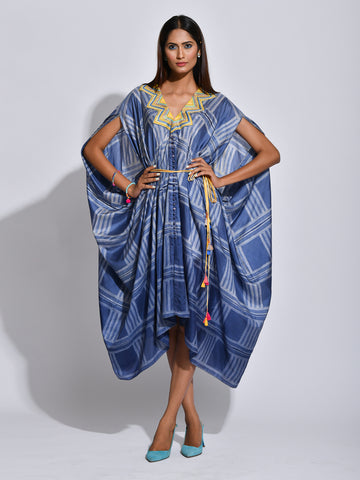 Charcoal Nomad Shibori Silk Cape