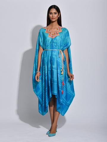 Nomad Turquoise Shibori Silk Dress