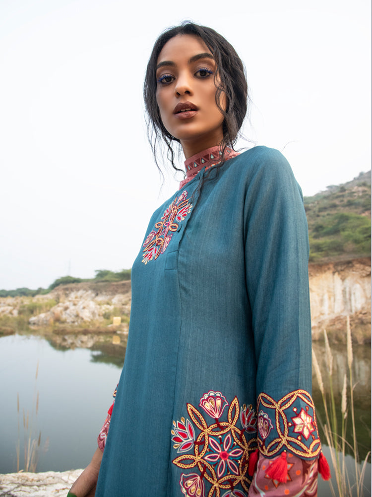 MORBAGH TEAL KAMAL ASYMMETRICAL EMBROIDERED  TUNIC with pANTS