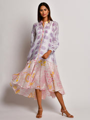 BLOOM PURPLE FLOWER CHANDERI FRILL DRESS