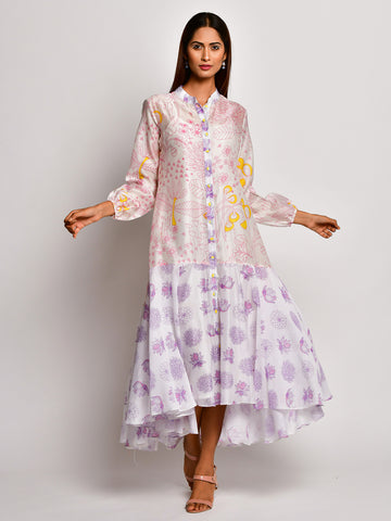 BLOOM PINK JAAL CHANDERI FRILL DRESS