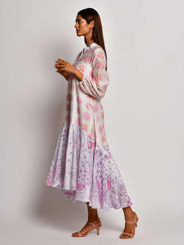 BLOOM PINK FLOWER CHANDERI  FRILL DRESS