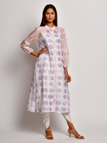 BLOOM PURPLE FLORAL REGLAN SLEEVE CHANDERI KURTA WITH DHOTI PANTS