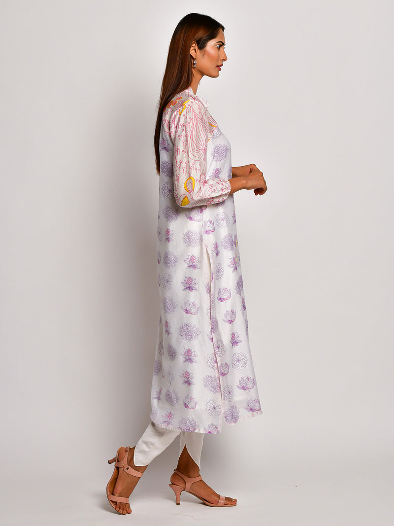 BLOOM PURPLE FLORAL REGLAN SLEEVE CHANDERI KURTA