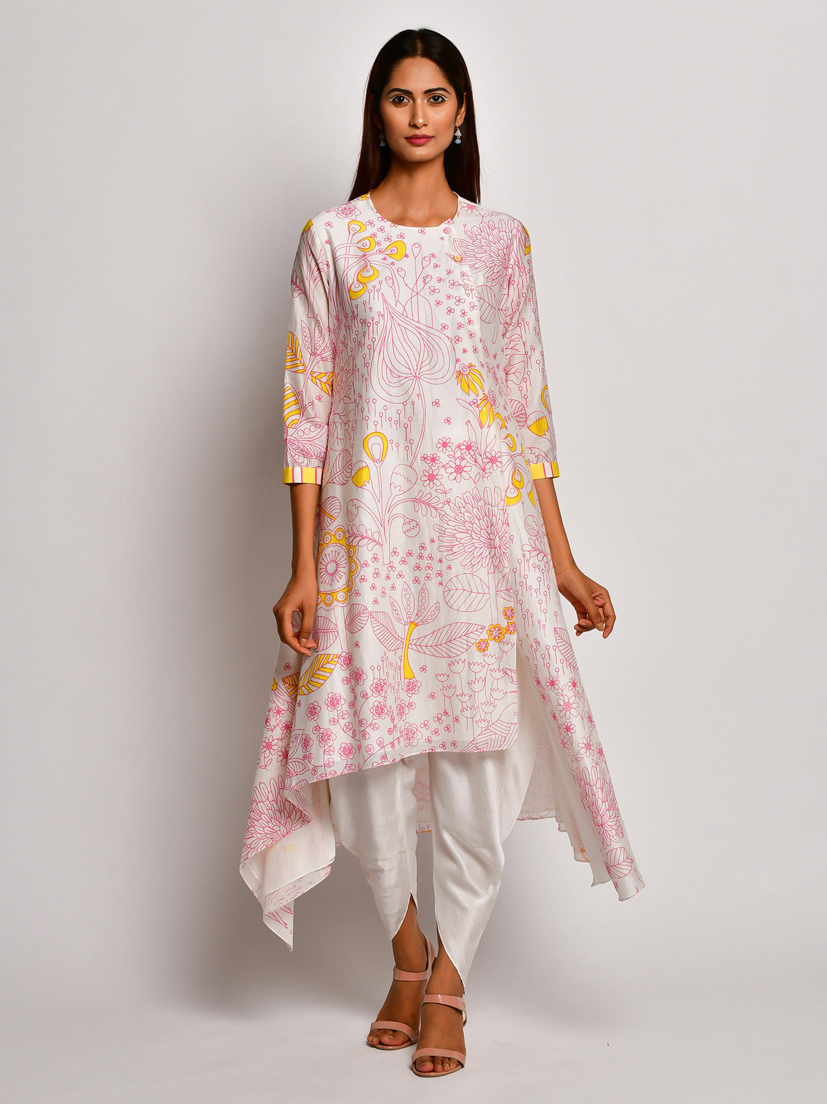 BLOOM PINK JAAL ASYMMETRICAL CHANDERI KURTA WITH DHOTI PANTS