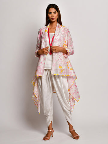 BLOOM PINK JAAL CHANDERI JACKET WITH CAMISOLE AND DHOTI PANTS
