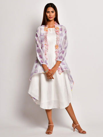 BLOOM PURPLE FLOWER JACKET WITH ASYMMETRICAL DRESS