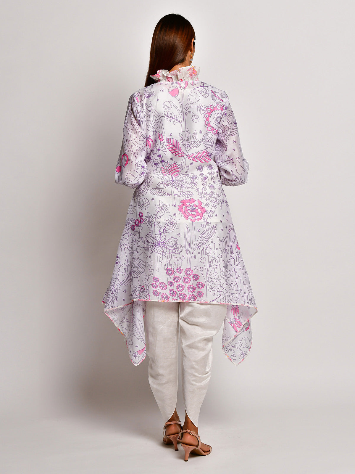 BLOOM PURPLE JAAL CHANDERI JACKET WITH CAMISOLE AND DHOTI PANTS