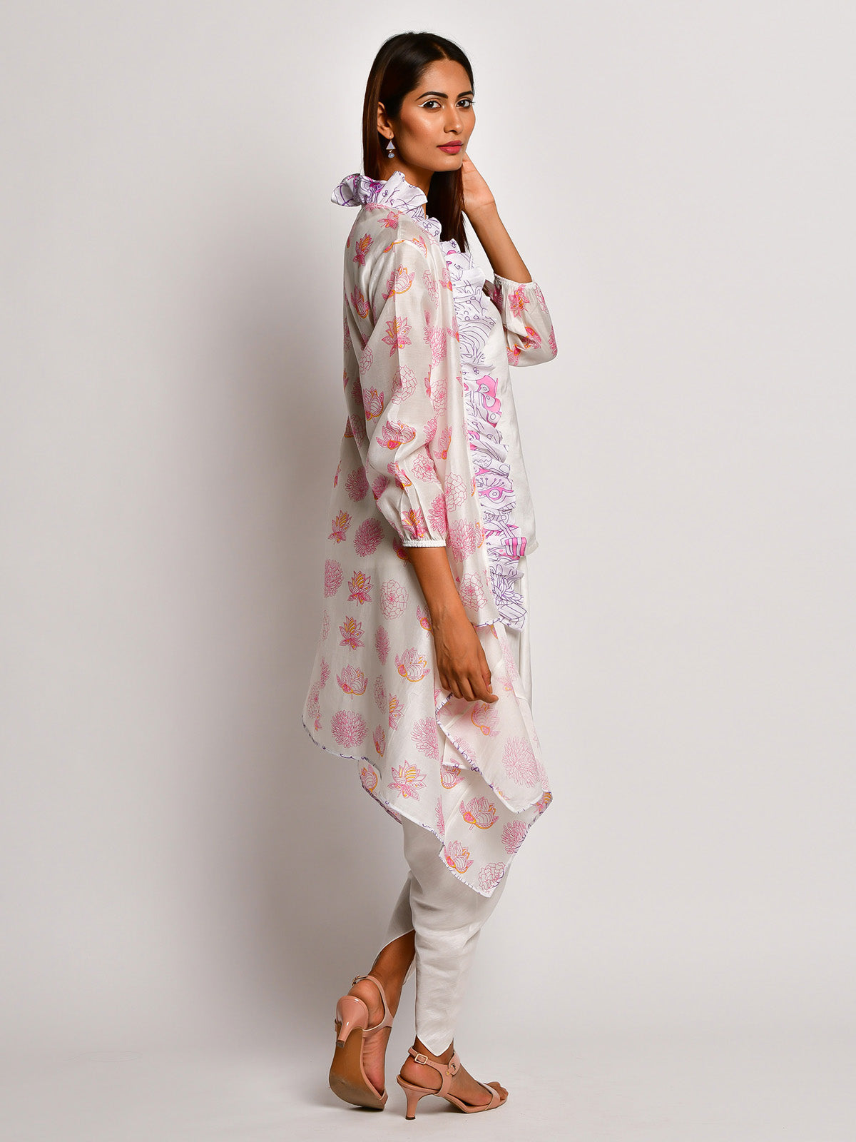 BLOOM PINK FLORAL CHANDERI JACKET WITH CAMISOLE AND DHOTI PANTS