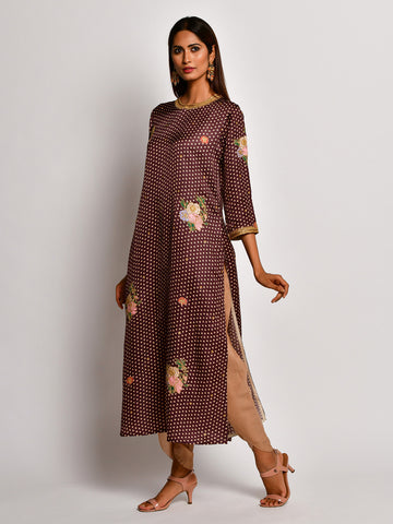 Guldasta Brown Embroidered Kurta Set