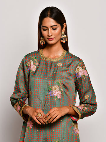 Guldasta Olive Embroidered Kurta Set