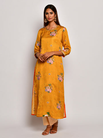 Guldasta Blooming Mustard Embroidered Kurta Set