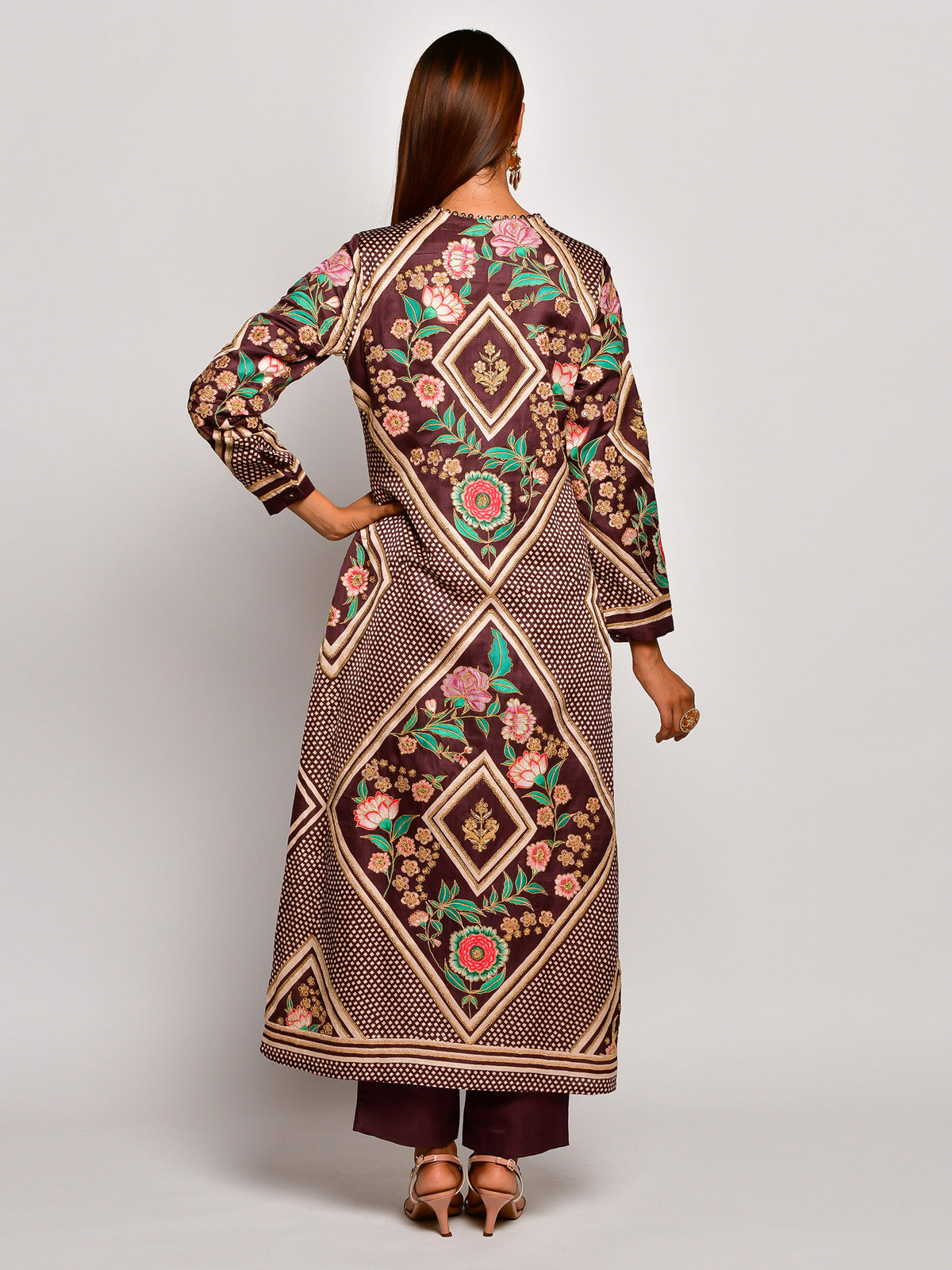 Guldast Brown Embroidered Kurta Set