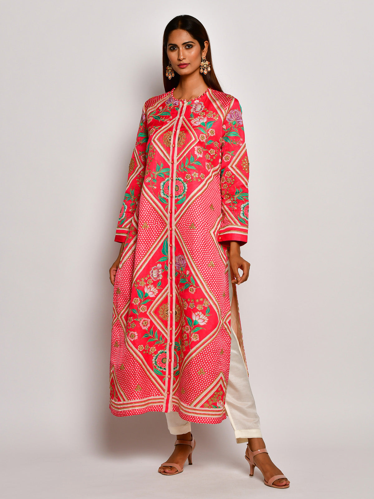 Guldasta Playful Crimson Embroidered Kurta Set