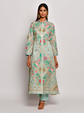 Guldasta Classic Mint Embroidered Kurta Set