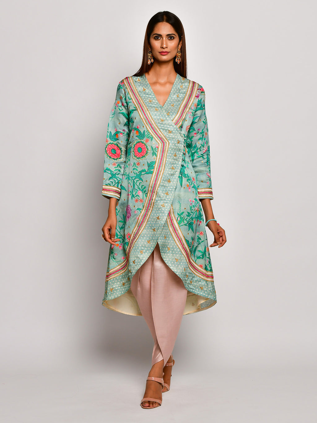 Guldasta Mint Embroidered Wrap Tunic Set