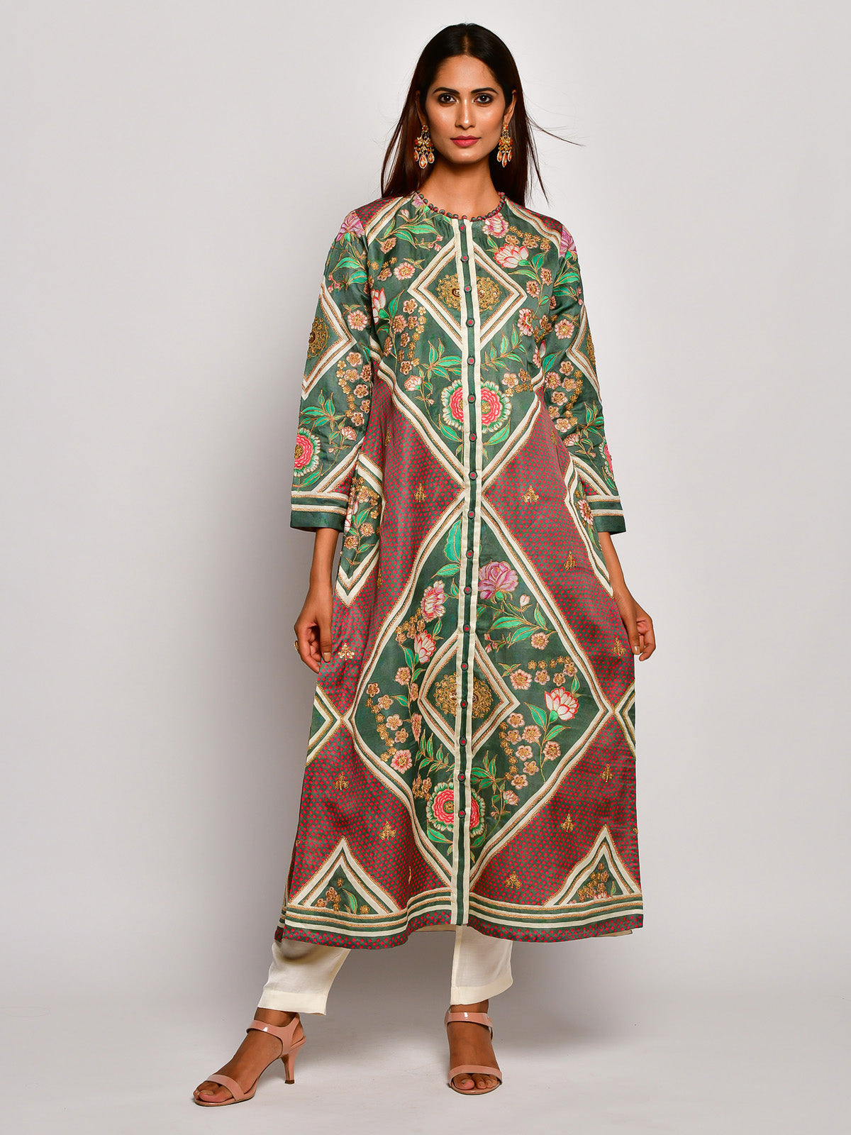 Guldasta Classic Olive Embroidered Kurta Set