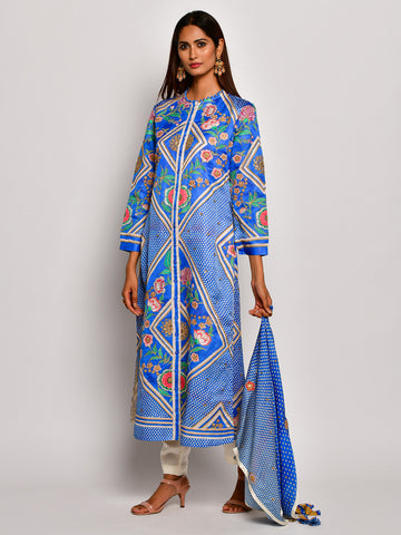 Guldasta Classic Cobalt Embroidered Kurta Set