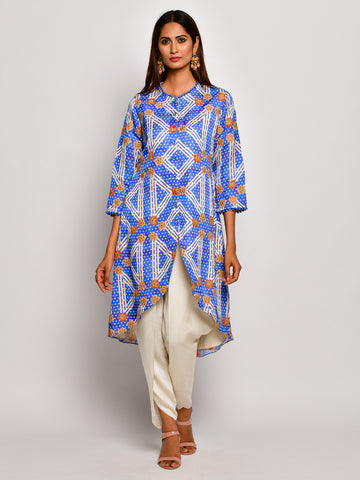 Guldasta Classic Cobalt High Low Embroidered Kurta Set