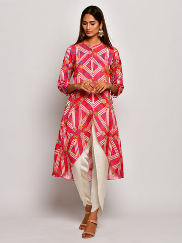 Guldasta Playful Crimson High Low Embroidered Kurta Set