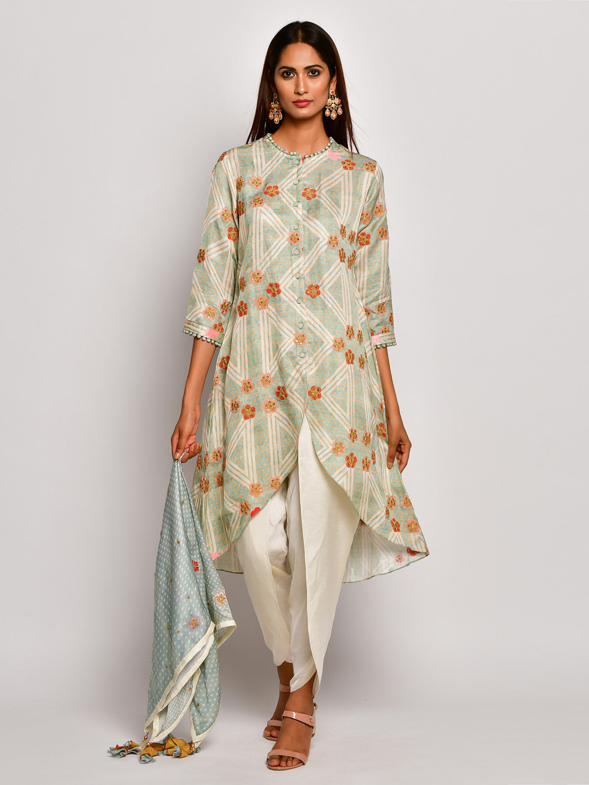 Guldasta Mint High Low Embroidered Kurta Set