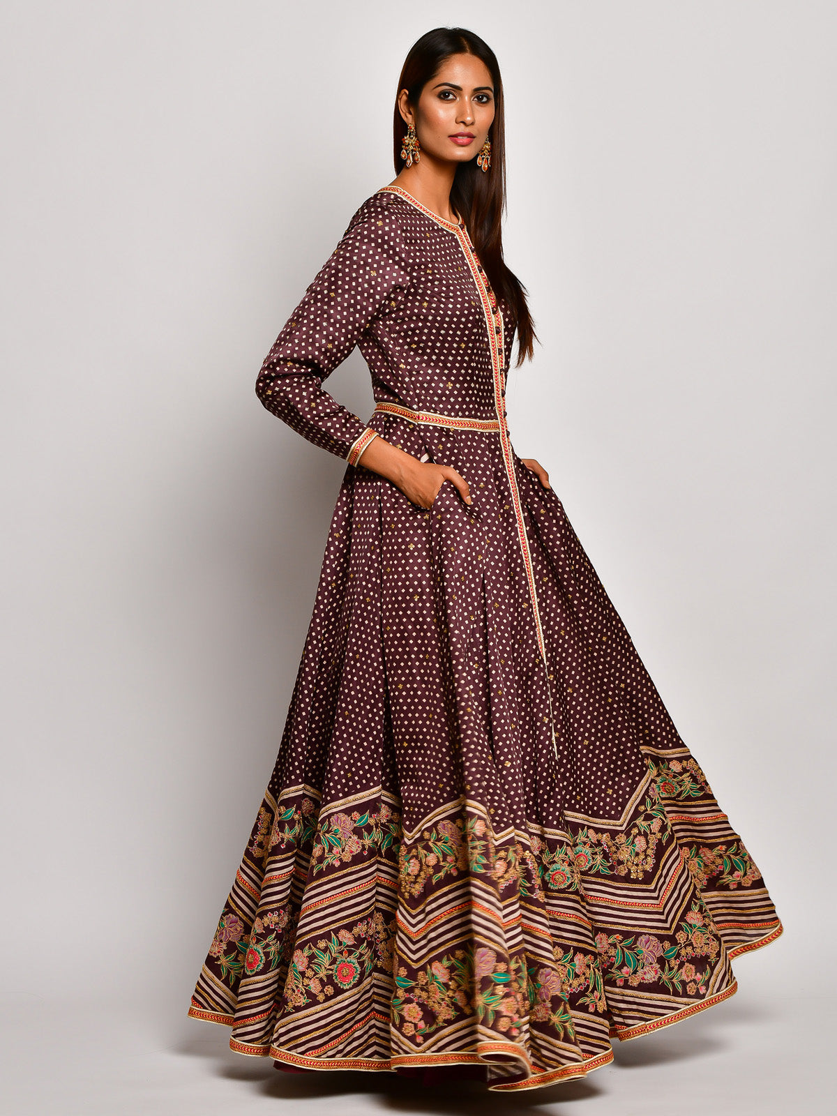 BROWN GULDASTA ANARKALI SET