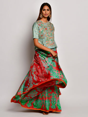 Guldasta Mint Embroidered Peplum Top And Shibori Lehenga