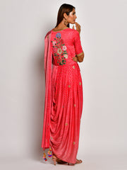 Guldasta Crimson Drape Saree Set