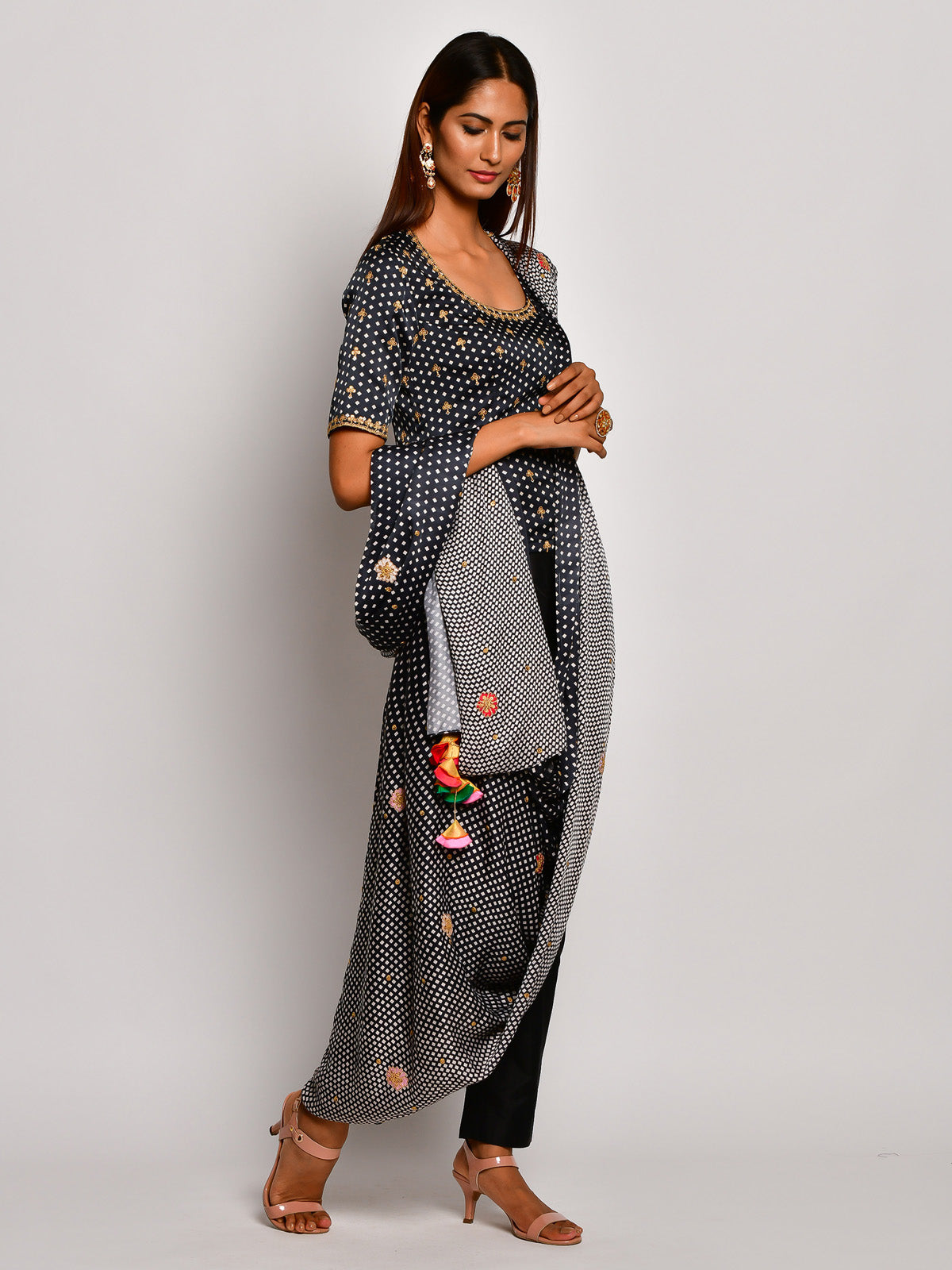 Guldasta Monochrome Drape Saree Set